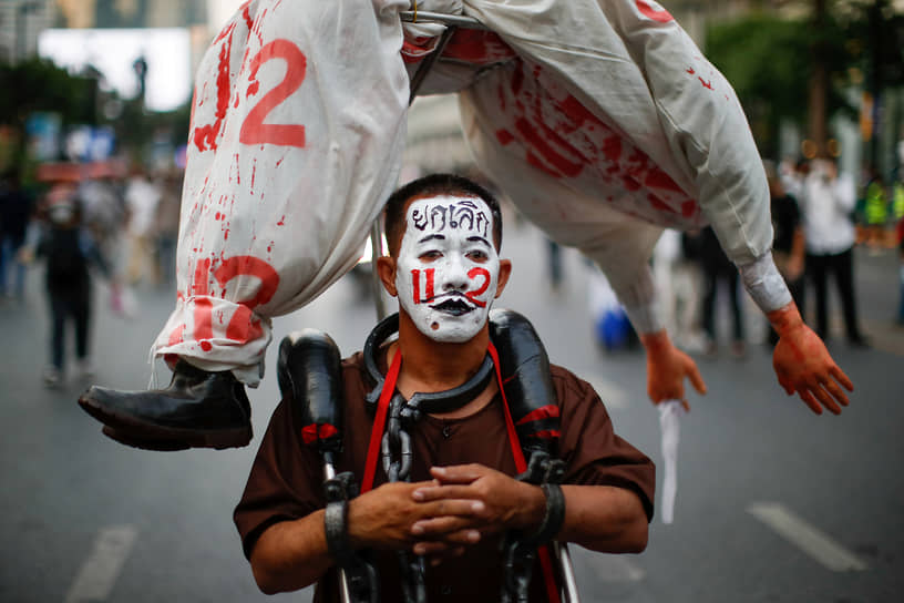 Бангкок, Таиланд. Протестующий на митинге