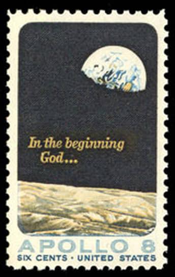 Почтовая марка, выпущенная в США в память о рождественском поздравлении из космоса, посланном экипажем «Аполлона-8»