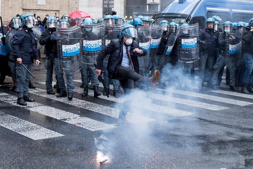 Рим, Италия. Акция протеста против коронавирусных ограничений