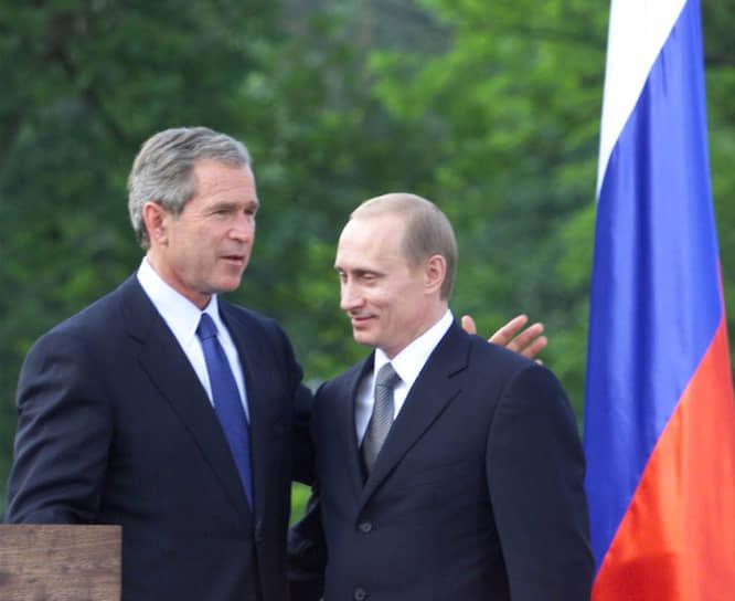 В 2001 году президентом США стал Джордж Буш-младший. Его первая встреча с Путиным состоялась в июне того же года в словенском замке Брдо. «Я рассчитывал на откровенный диалог, но действительность превзошла ожидания — это был предельно открытый и очень интересный для меня разговор», — рассказывал Путин о первой встрече с Бушем. Американский президент вспоминал: «Я посмотрел в глаза этому человеку, заглянул ему в душу и решил, что могу ему верить. Этот человек принесет лучшее для своей страны»