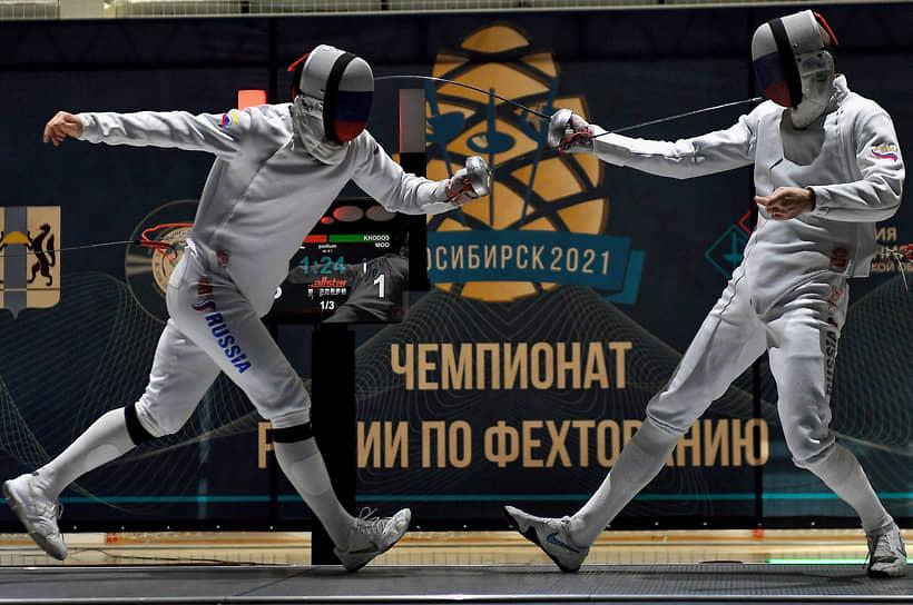 Спортсмены во время поединка