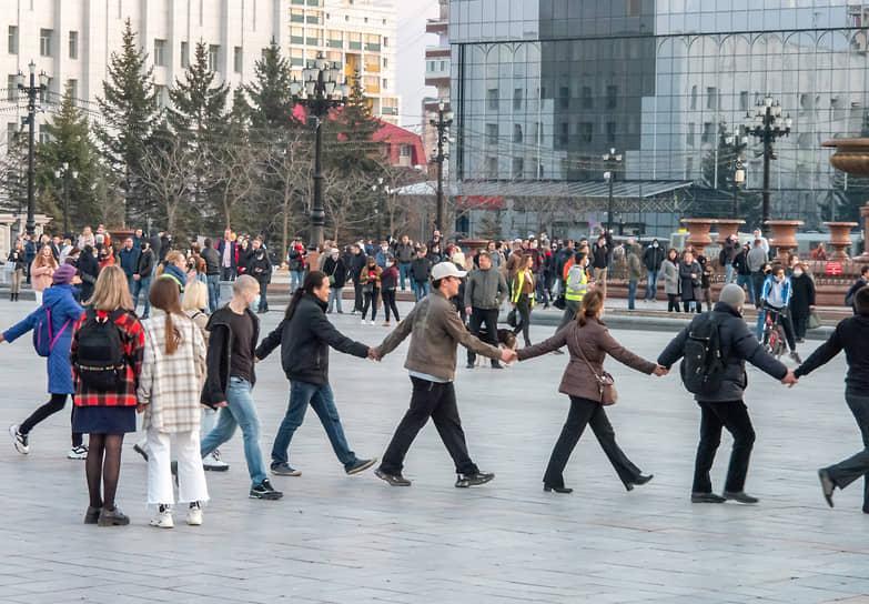 Хабаровск, Россия. Участники несогласованной акции в поддержку оппозиционера Алексея Навального