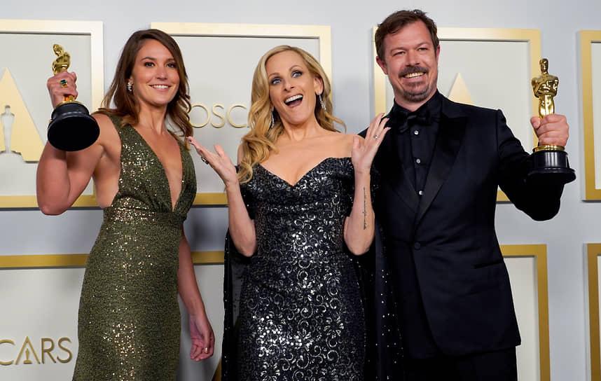 «Оскар» за лучший документальный фильм получил «Мой учитель-осьминог» <br>На фото слева направо: режиссер Пиппа Эрлих, актриса Марли Мэтлин и режиссер Джеймс Рид