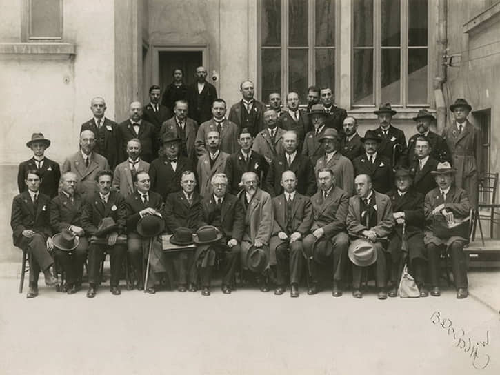 Участники I съезда Русских писателей и журналистов в Белграде, 1928 год (в СССР первый съезд писателей прошел позже, в 1934 году).