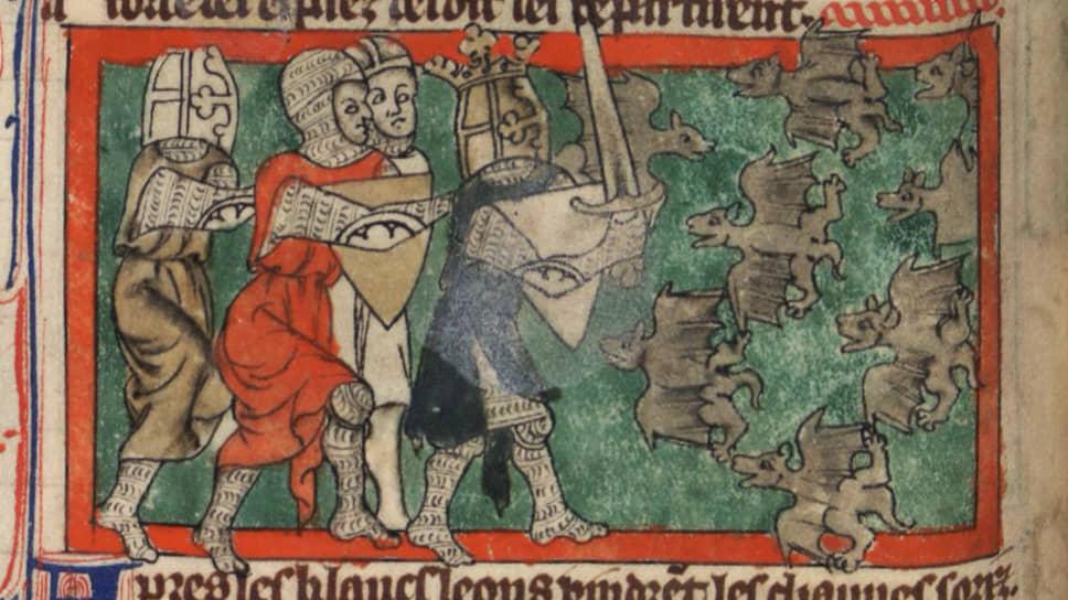 Воины Александра Македонского подвергаются нападению летучих мышей-кровососов. Эпизод из «Романа об Александре и его рыцарях» поэта Тома де Кента.