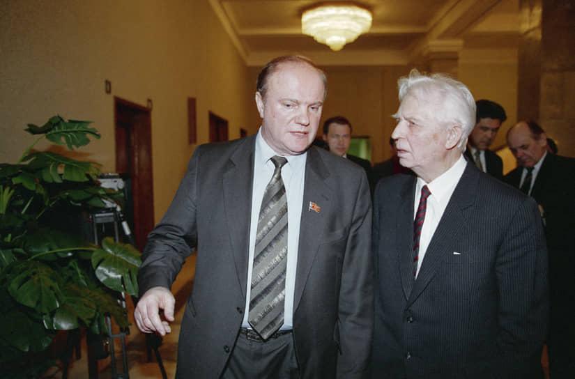 В 1993-2013 годах Егор Лигачев был членом ЦК Коммунистической партии РФ<br> На фото: Лигачев с лидером КПРФ Геннадием Зюгановым, 1997 год