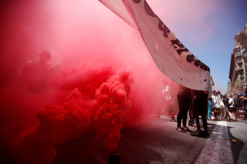 Барселона, Испания. Студенческие протесты