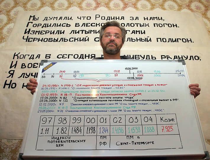 В нескольких городах России чернобыльцы в знак протеста против монетизации льгот объявили голодовку <br>На фото: участник голодовки в Санкт-Петербурге демонстрирует схему расчета компенсаций за вред здоровью
