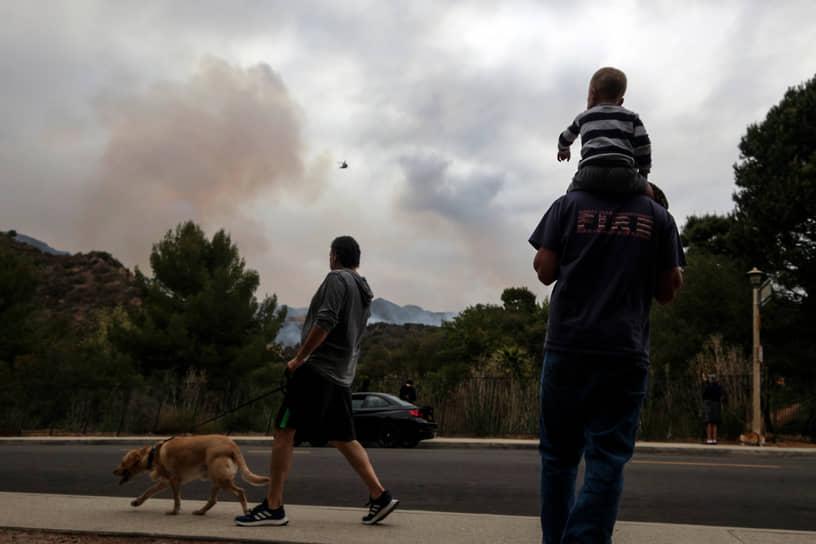 Лос-Анджелес, США. Местные жители смотрят на дым над лесом
