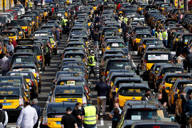 Барселона, Испания. Протестующие таксисты