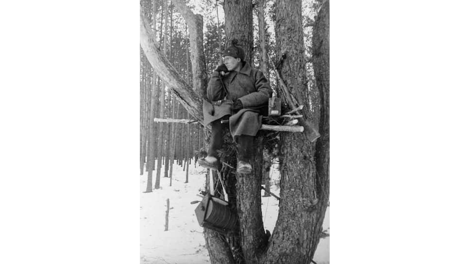 «Полевого телефонного провода — 1229 тысяч клм., телефонных аппаратов — 245 тысяч штук» (на фото — красноармеец-связист. Белоруссия, 1944 год)