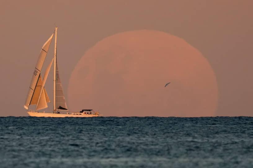 Сидней, Австралия. Яхта на фоне Луны