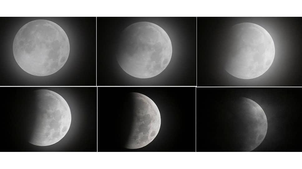 Мехико, Мексика. Коллаж из фотографий лунного затмения