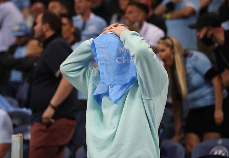 Болельщик «Манчестер Сити» во время матча