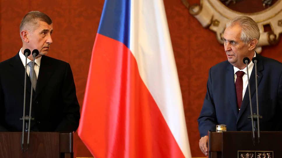 Президент Милош Земан (слева) и премьер-министр Андрей Бабиш