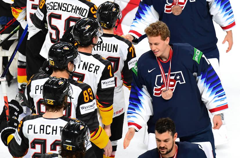 Матч за третье место между сборными США и Германии на стадионе «Арена Рига»