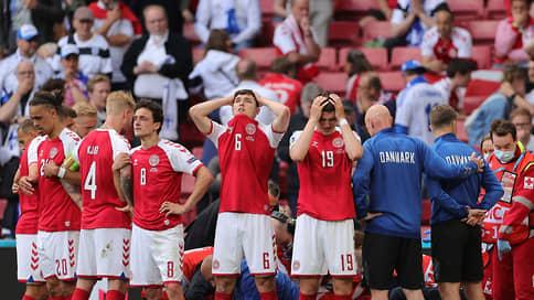 Чемпионат Европы пережил сердечный приступ  / Игрок сборной Дании Кристиан Эриксен потерял сознание в матче с финнами