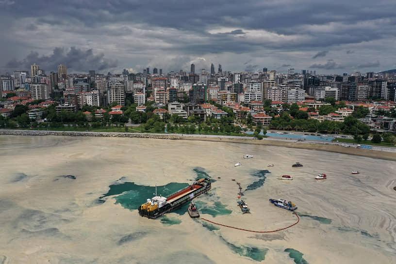 Стамбул, Турция. Очистка поверхности Мраморного моря