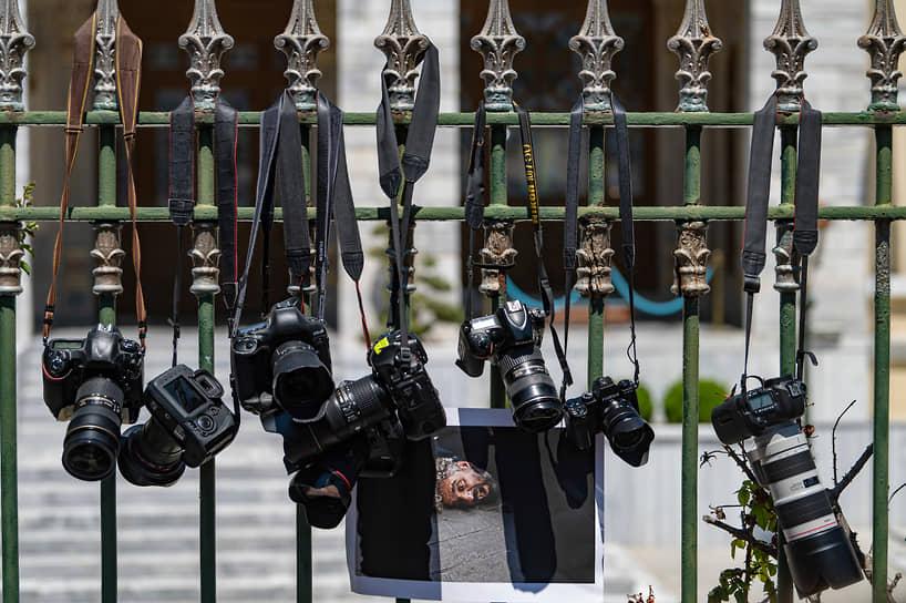 Стамбул, Турция. Акция протеста против задержания фотожурналиста