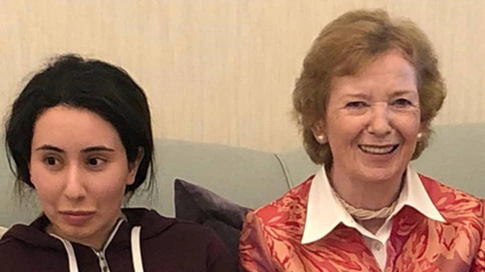 Принцесса Латифа (слева) и бывший Верховный комиссар ООН по правам человека Мэри Робинсон, 2018 год
