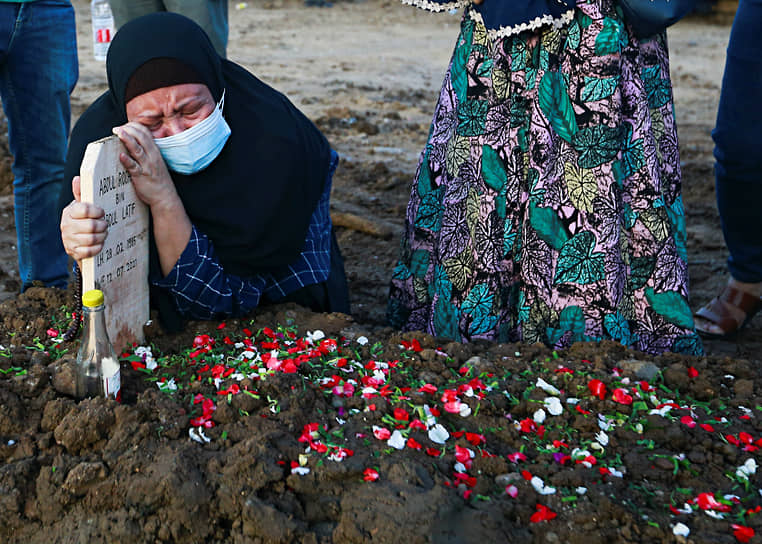 Джакарта, Индонезия. Родственники на похоронах человека, умершего от COVID-19