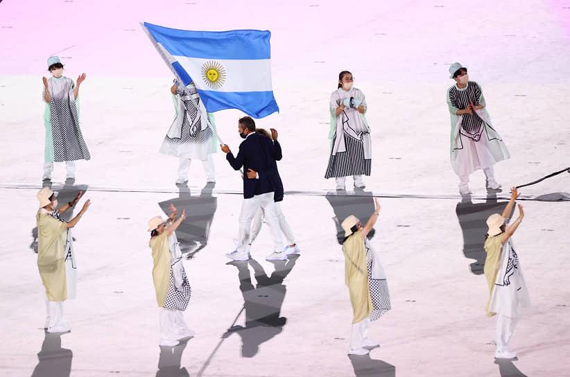 Сборная Аргентины во время церемонии открытия летних XXXII Олимпийских игр в Токио
