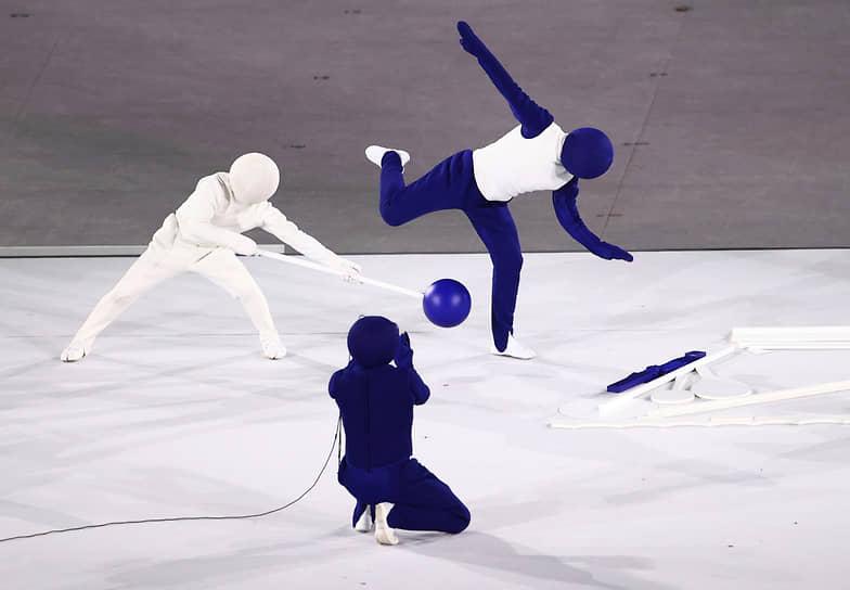 Выступление артистов из Японии на открытии Олимпиады