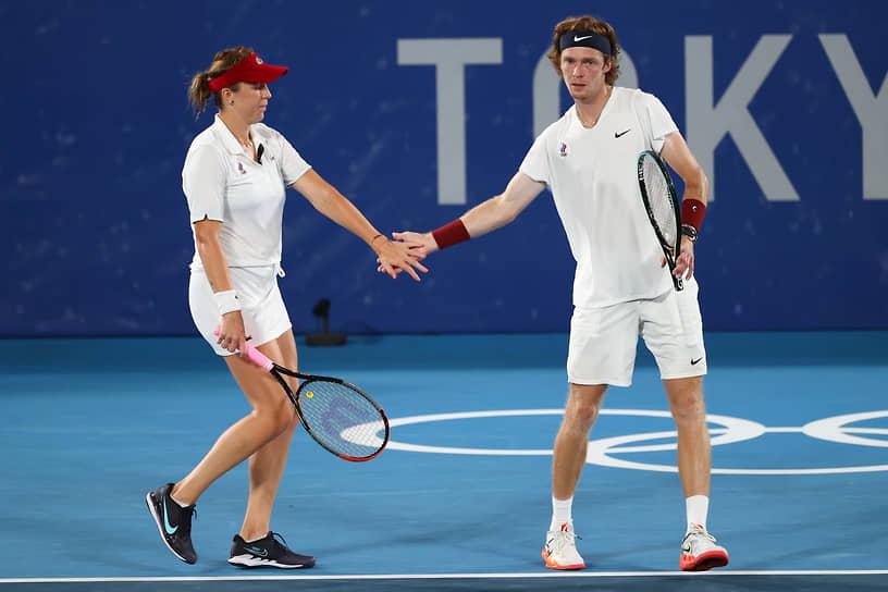 Золото. Анастасия Павлюченкова и Андрей Рублев. Теннис, смешанный парный разряд