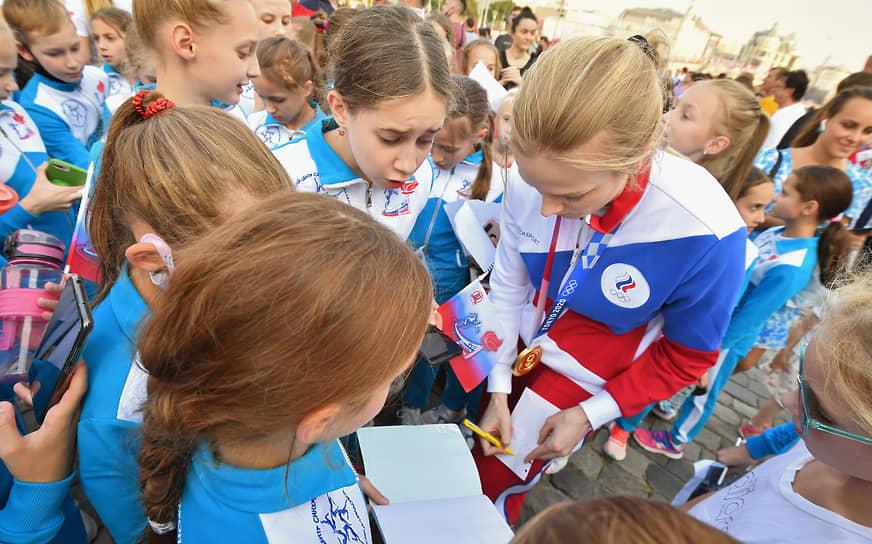 Церемония встречи российских спортсменов, выступавших на Олимпиаде в Токио, на Красной площади