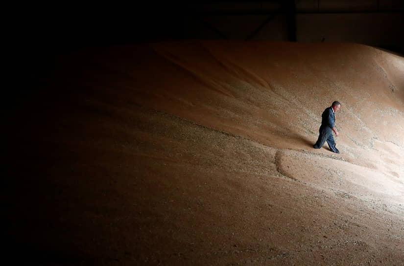 Нант, Франция. Фермер идет по собранному зерну