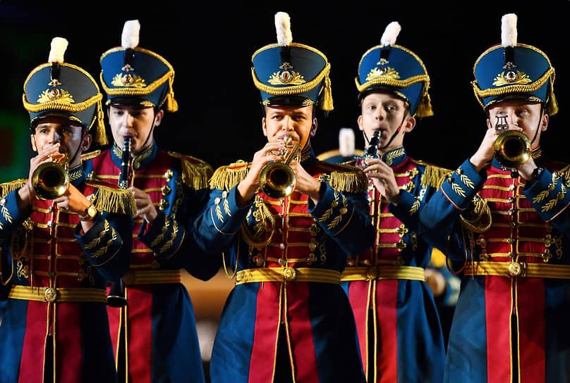 Образцово-показательный оркестр Вооруженных сил Республики Беларусь во время церемонии