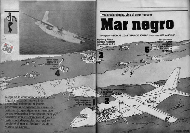 В декабре 1987 года самолет Fokker F27 ВМС Перу, летевший из Пукальпы в Лиму, упал в Тихий океан при заходе на посадку. На борту находились 16 игроков перуанского клуба «Альянса Лима», а также тренерский штаб, футбольные чиновники, болельщики и трое арбитров. Всего на борту было 37 пассажиров и шестеро членов экипажа. Выжить в катастрофе смог только командир экипажа