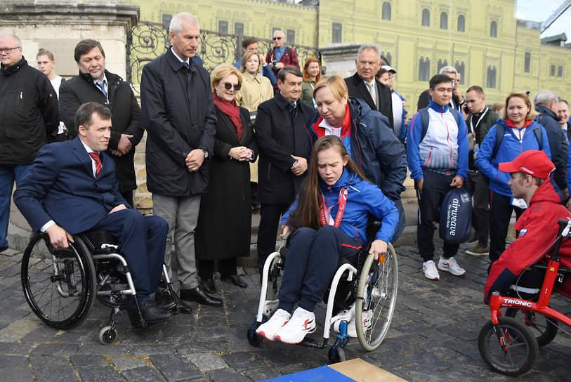 Церемония чествования российских спортсменов после XVI Паралимпийских игр в Токио на Красной площади