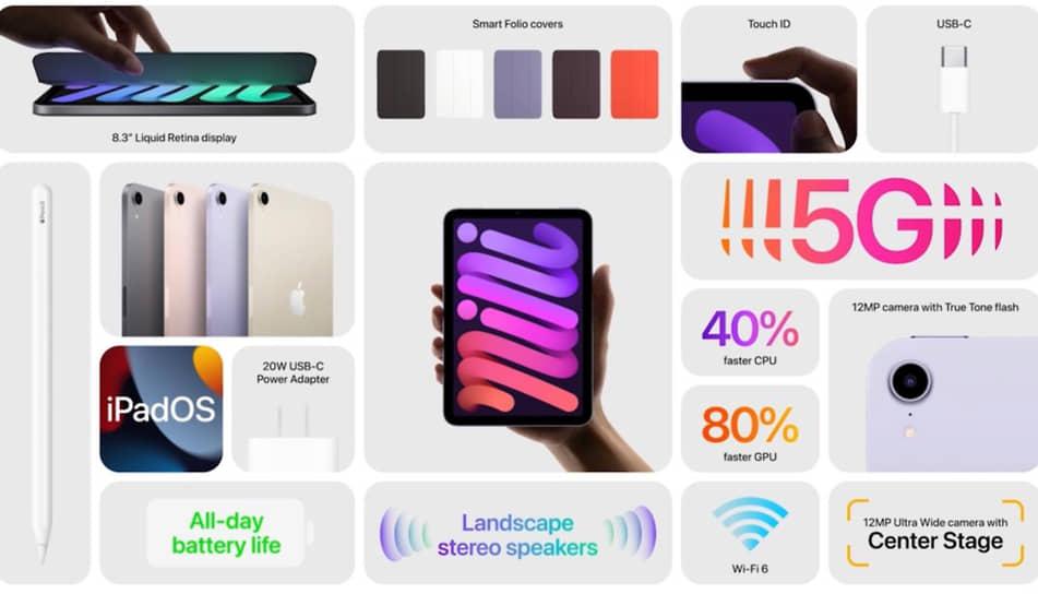 Дизайн корпуса iPad mini выполнен в стилистике iPhone 12, кнопка Touch ID теперь встроена в клавишу включения. Планшет получил разъем USB-С, поддержку сетей сотовой связи 5G, а также обновленные 12 МП камеры