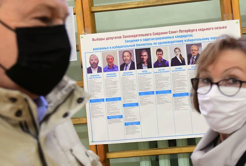 Санкт-Петербург. Плакат с кандидатами в заксобрание города, среди которых три человека с одинаковыми именами Борис Вишневский