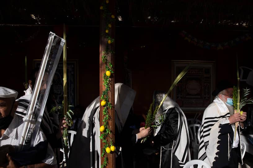 Иерусалим, Израиль. Ультраортодоксальные евреи молятся в честь праздника Суккот