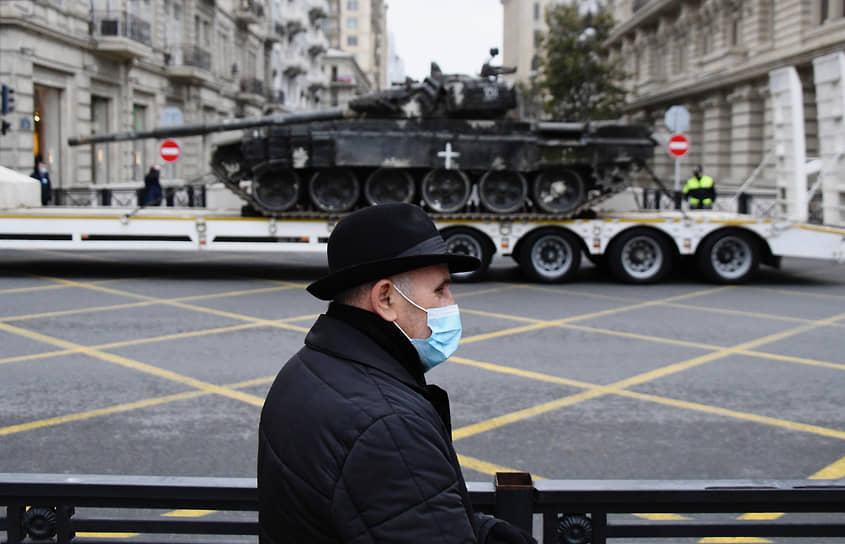 Трофейная техника на репетиции военного парада в Баку
