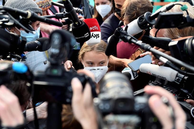 Милан, Италия. Шведская экоактивистка Грета Тунберг на климатическом саммите Youth4Climate
