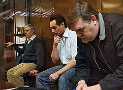 Присяжные признали Василия Корягина, Сергея Дубовицкого и Сергея Климантова (слева направо) виновными во взяточничестве. Фото: Дмитрий Лебедев/Коммерсантъ. Загружается с сайта Ъ
