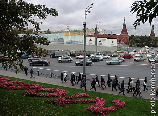 Место, выделенное под строительство реставрационно-депозитарного комплекса для музеев Московского Кремля в районе Боровицкой площади