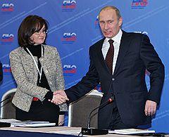 Министр экономического развития России Эльвира Набиуллина и председатель правительства России Владимир Путин