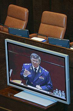 Генеральный прокурор России Юрий Чайка (на мониторе)