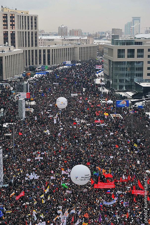 На проспект Сахарова, по разным сведениям, вышло от 70 до 120 тыс. человек (по официальным данным — 29 тыс.)