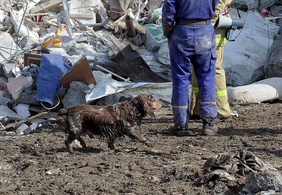 Спасатели разбирают завалы на месте обрушения подъезда девятиэтажного жилого дома в результате взрыва бытового газа