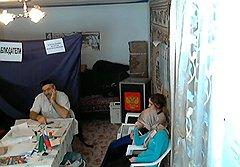 Скриншот видеотрансляции с избирательного участока №49 в селе Меседой Веденского района Чечни