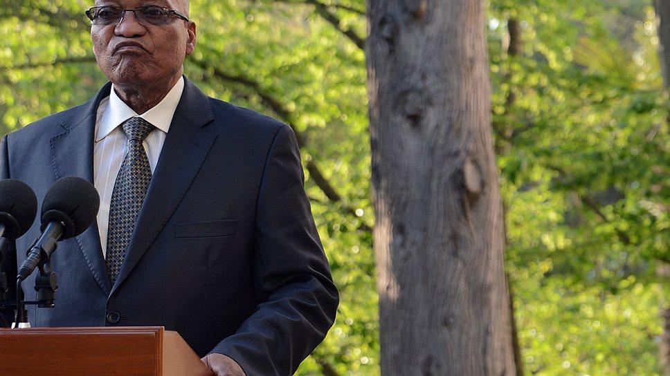 Президент ЮАР Джейкоб Зума был растроган теплым приемом со стороны президента России Владимира Путина
