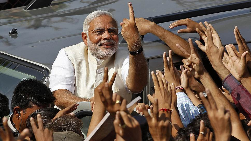 """Кандидат в премьеры от  оппозиционной """"Бхаратия джаната парти"""" Нарендра Моди сумел убедить индийцев, что под его руководством страну ждут лучшие времена"""