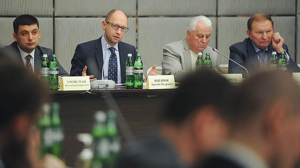 Арсений Яценюк, экс-президенты Украины Леонид Кравчук и Леонид Кучма