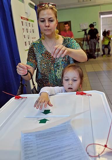 Предварительные выборы в Московскую городскую думу. Голосование на одном из избирательных участков