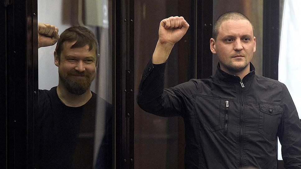 В прокуратуре уверены, что Леонид Развозжаев (слева) и Сергей Удальцов 6 мая 2012 года планировали дойти до Кремля